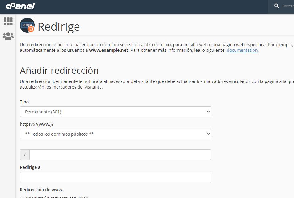 Redireccionar Mi Sitio Web desde Cpanel 1